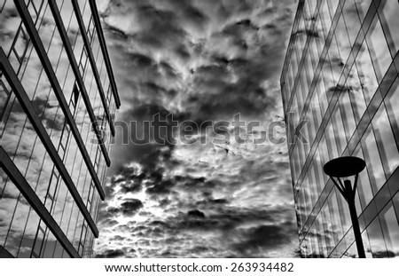 Office building with a lamp post - stock photo