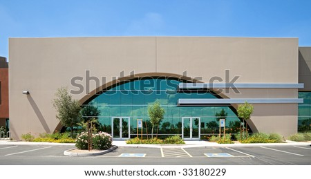 Office building with glass facade.