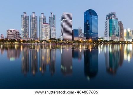 Office building with reflection with clear twilight sky background