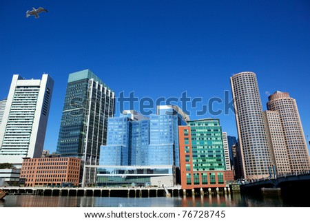 Office buildings and flying gull in Boston city, USA - stock photo