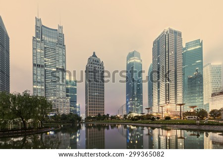 Office buildings and parks in the city - stock photo