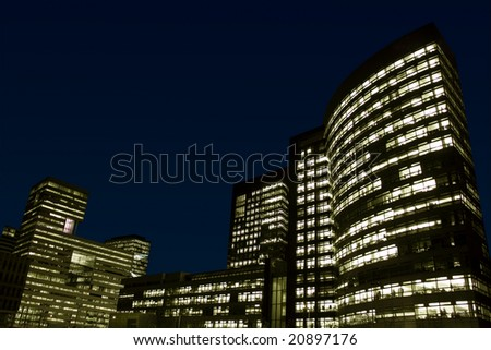 Office buildings at night. Zuidas, Amsterdam, Netherlands.