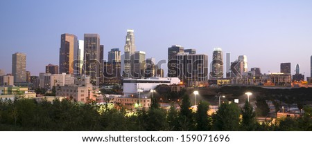 Office Buildings Financial District Los Angeles California Downtown Horizontal - stock photo