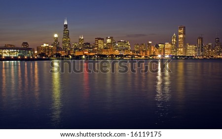 Office buildings in Chicago, IL. - stock photo