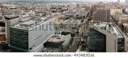 Office buildings in downtown city skyline of Los Angeles, California