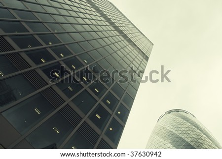 Office buildings in London, UK - stock photo