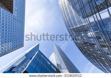 Office buildings in the business district of La Defense, Paris - stock photo