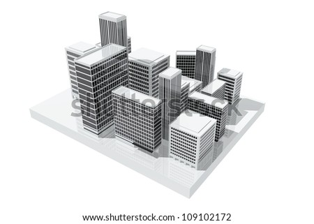 Office buildings in the city - stock photo