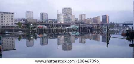 Office Buildings line Thea Foss Waterway downtown Tacoma Washington Waterfront - stock photo