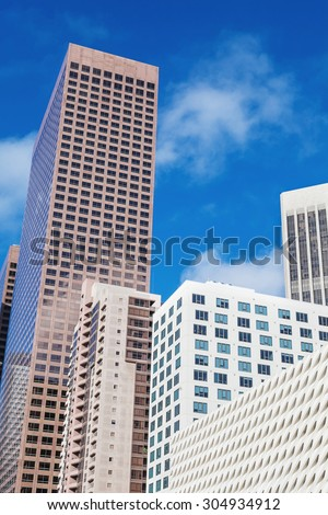 Office buildings. Modern glass silhouettes of skyscrapers.  - stock photo
