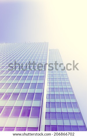 office buildings. modern glass silhouettes of skyscrapers  with a  instagram filter - stock photo