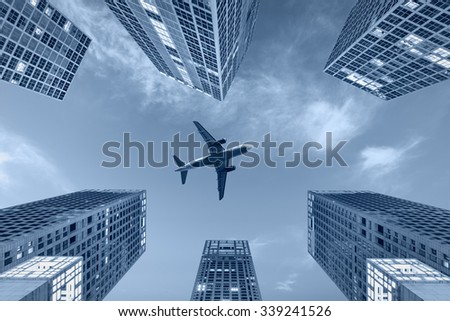 Office buildings scenery in the business city center - stock photo