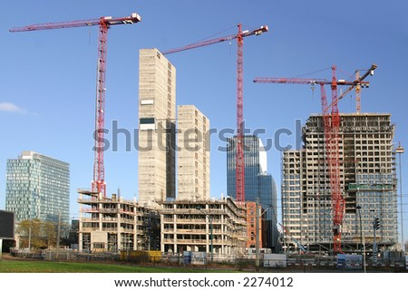 Office buildings under construction - stock photo