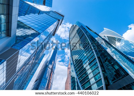 Office buildings walls in the business city center. - stock photo