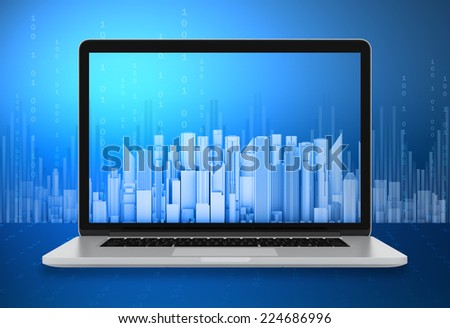 Office business centers on the laptop screen - stock photo