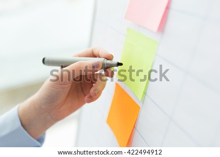 office, business, people, startup and education concept - close up of hand with marker drawing on sticker on flip chart - stock photo