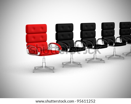 Office chair concept isolated on white background - 3d render illustration - stock photo