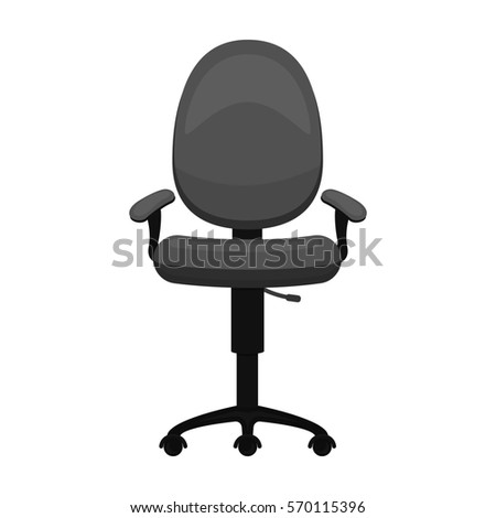 Office Chair Icon In Monochrome Style Isolated On White Background Furniture And Interior Symbol
