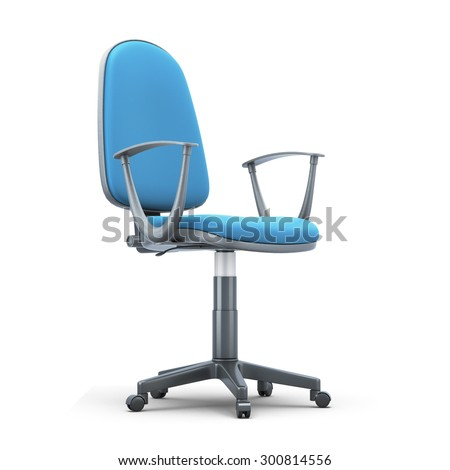 Office chair with a blue trim on a white background. 3d illustration. - stock photo