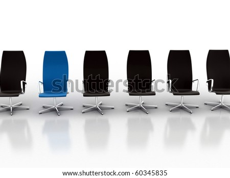 office chairs one standing out - stock photo