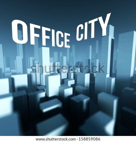 Office city in 3d model of miniature downtown, Architectural creative concept