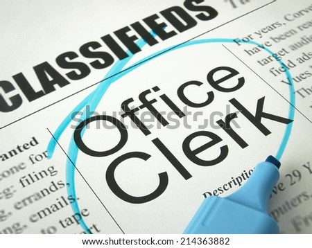 Office Clerk (Classifieds)   - stock photo