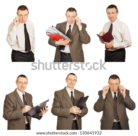 Office Clerk In Diverse Poses. Collage. Hi-res images inside my portfolio - stock photo
