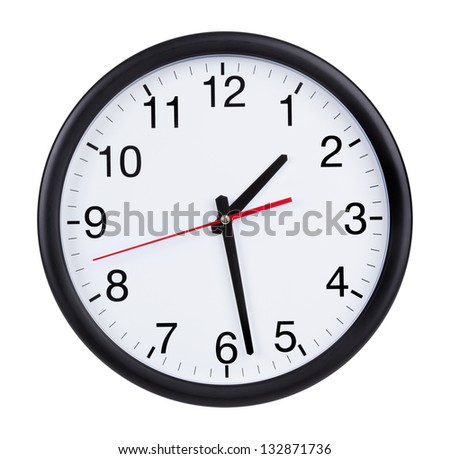 Office clock is twenty minutes of the second - stock photo