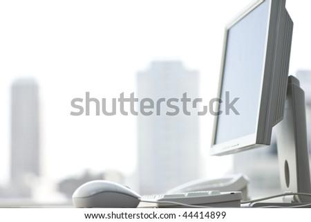 Office computer (shallow DOF) - stock photo