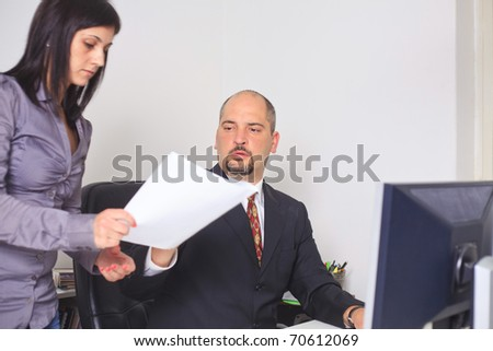 office cooperation - stock photo