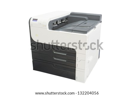 Office copying machine under thew white background - stock photo