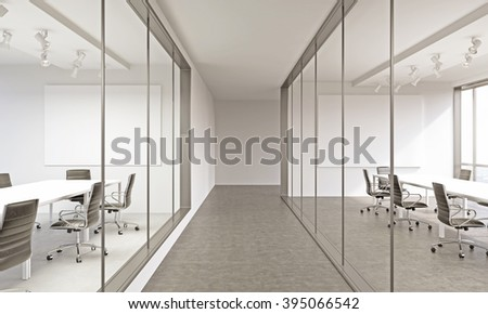 Office corridor, meeting rooms on both sides. Concept of business meeting. Grey. Mock up. 3D render - stock photo