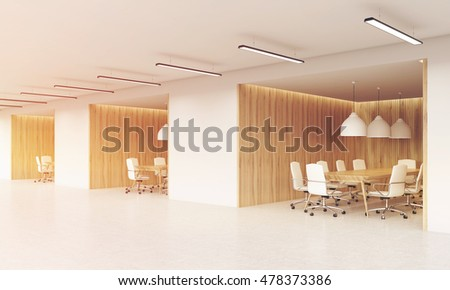 Office corridor with several rooms for negotiations with office furniture and large ceiling lamps. Concept of business meeting. 3d rendering. Mock up. Toned image