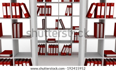 Office cupboard with different folders. 3d image - stock photo