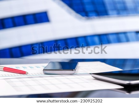 Office desk close-up - stock photo