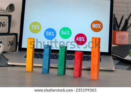 Office Desk   Colorful Graph With Laptop Screen Infographic