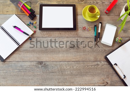 Office desk mock up template with table, smart phone, notebook and cup of coffee. View from above with copy space - stock photo