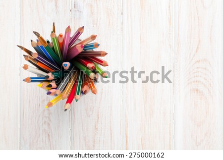 Office desk table with colorful pencils. Top view with copy space  - stock photo