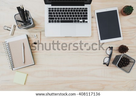 Office Desk Table Laptop Supplies Tablet Stock Photo 515482030