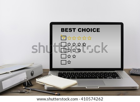 Office desk with a laptop. Best Choice - stock photo
