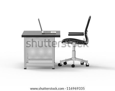 Office desk with computer, notebook, light and pen on white background