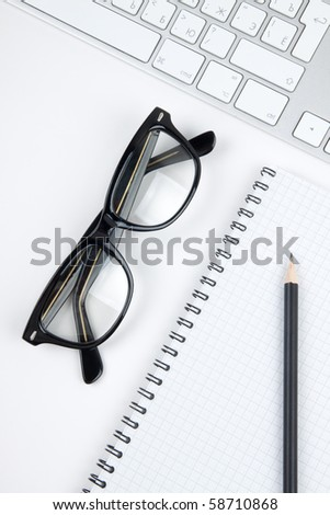 Office desk with glasses