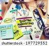 Office Desk with Tools and Notes About Digital Marketing - stock