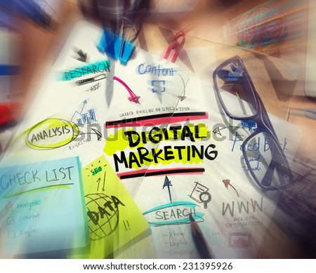 Office Desk with Tools and Notes About Digital Marketing - stock photo