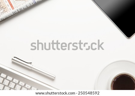 Office desk,Working on white Table - stock photo