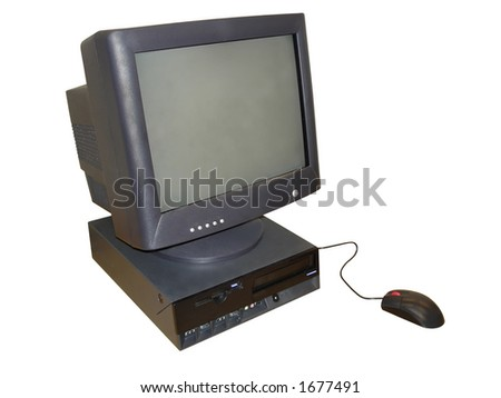 Office Desktop Computer with black CRT Monitor and scroll wheel Mouse. Isolated, Clipping Path Included - stock photo