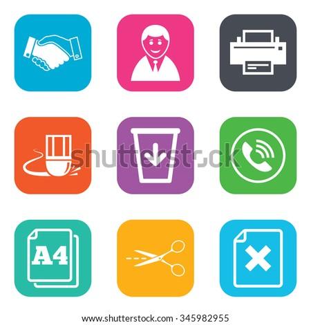 Office Documents Business Icons Printer Handshake Stock Illustration