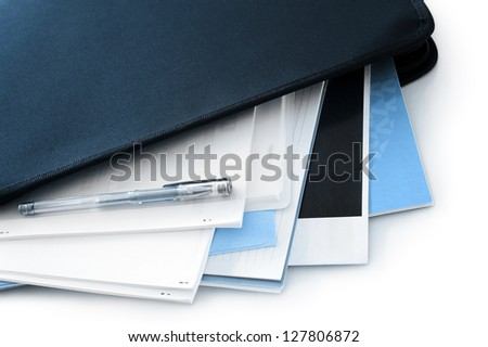 office documents in black folder - stock photo