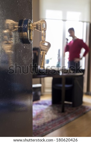Office door and key - stock photo