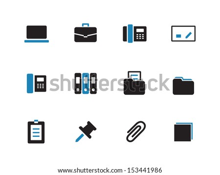 Office duotone icons on white background. See also vector version. - stock photo
